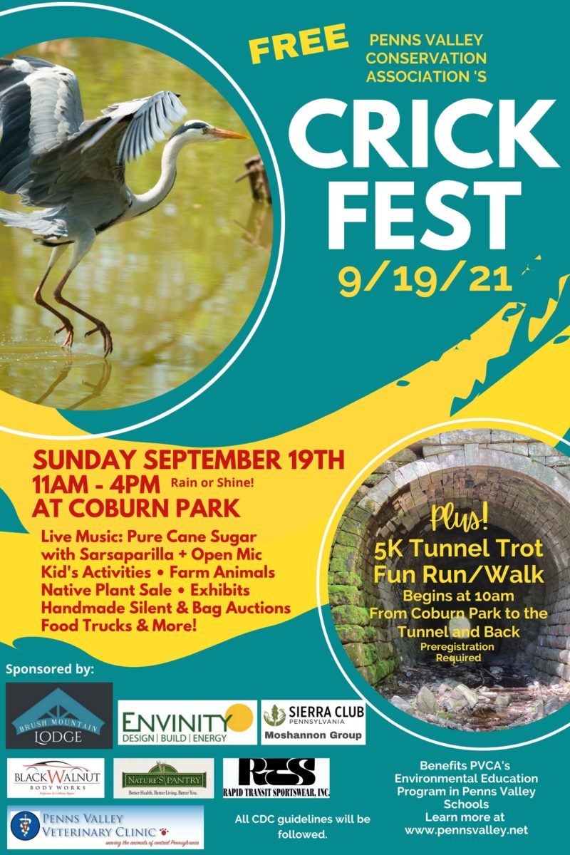 Crickfest Poster with image of a Great Blue Heron flying and text information about the event